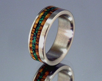 Bocote Wood Malachite Wide Offset Inlay Titanium Wood Wedding Band or Ring