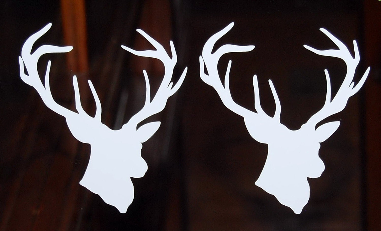 2X Deer head buck vinyl decal auto window by ...
