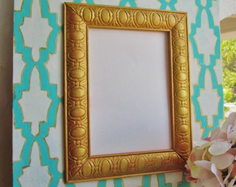 Distressed 5x7 Frame in Aqua, White and Gold Trim with Moroccan Pattern
