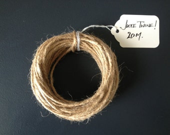 Jute Twine - Natural Jute Twine, Packaging Twine, DIY Wedding Invitations, Gift Wrapping Twine, Jute String, Luggage Tags, 20m