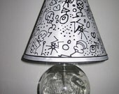 Elegant Black and White hand-painted lamp shade