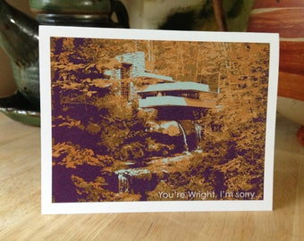 Funny apology I'm sorry greeting card, Funny Sorry Card,  Frank Lloyd Wright, Fallingwater, Architecture note card, graphic illustration