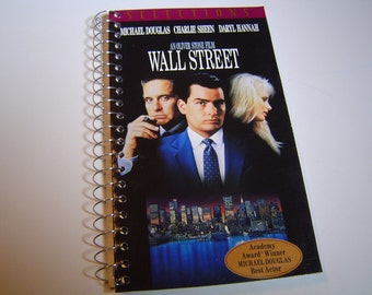 Wall Street Upcycled VHS tape notebook  / spiral notetook / VHS tape box notebook