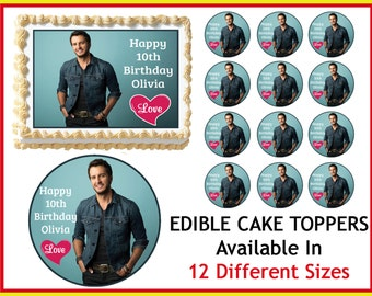 Luke Bryan Edible Birthday Cake Image Cupcake Topper
