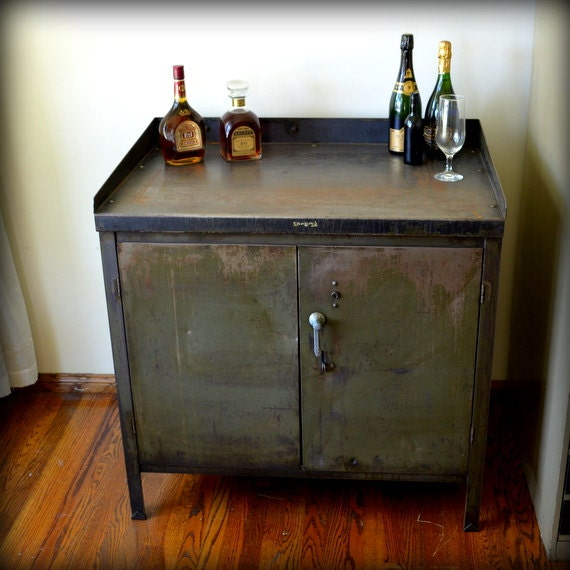 Items Similar To Industrial Bar Cart Cabinet Vintage Metal Army Green Furniture On Etsy