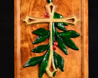 Carved Holly Cross