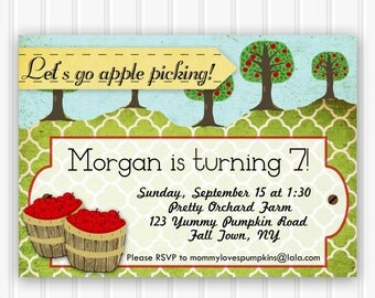 Custom Printable Invitation, Fall Birthday Party, Apple Picking Birthday Party, INSTANT DOWNLOAD Apple Orchard birthday party invitation