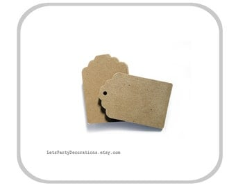Kraft Paper Tags- Small favor tags wedding Gift Tags- Brown Kraft Tags - Set of 50