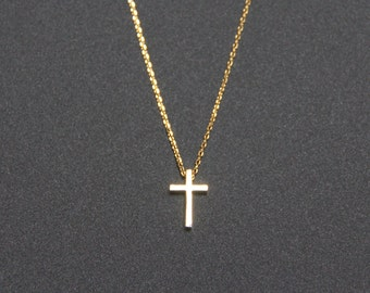 Tiny Cross Pendant Necklace, Minimalist Gold Necklace, Cross Charm Necklace, Everyday Jewelry, Fashion Jewelry, gifts, JEW000177