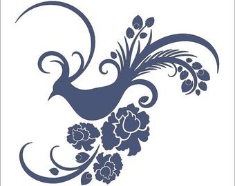 Pheasant Bird-  ** Reusable STENCIL** Design availabe in 6 sizes- Create Cottage Signs, Pillows and Unique Furniture STENCIL