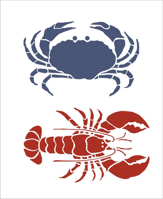 crab and lobster reusable stencil 6x4 crab