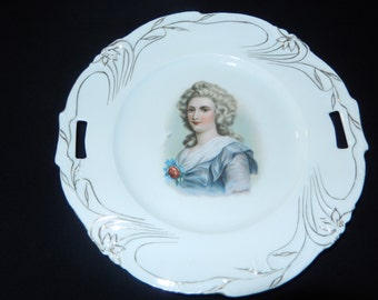 Porcelain Plate with Colonial Woman