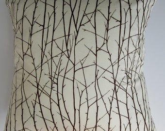 "Pillow cover -Cream & brown ""branches"" print, fits. 20x20 pillow - 100% Cotton"