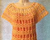 Handmade Crochet Women Shell Stitch and Chain Short Sleeve Top 100% Cotton in Cream, Small Size