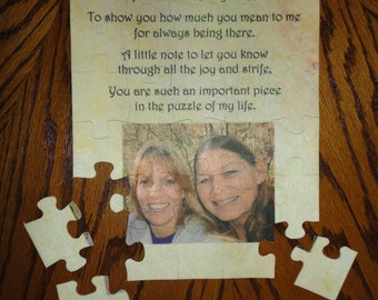 "Sister, Friend, Aunt, Cousin, PHOTO PUZZLE Personalized Puzzle Custom made 7 1/2"" x 9 1/2"" Great Gift!!!! One -of-a-kind"