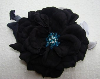 Handmade black satin flower brooch, flower clip & pin