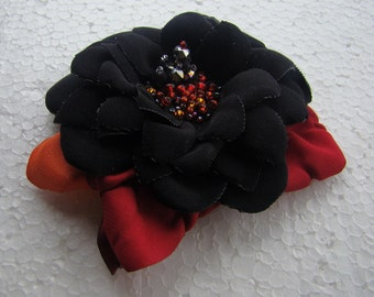 Handmade black polyester flower brooch, flower clip & pin