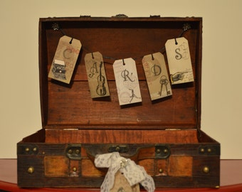 Great Gatsby Card Trunk, Vintage Card Trunk, Card Suitcase, Vintage Wedding Card Box, Luggage Tag Card Box, Flapper Wedding Card Box