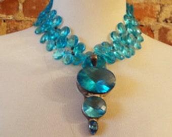 Blue Quartz Statement Necklace w/Charles Albert Pendant