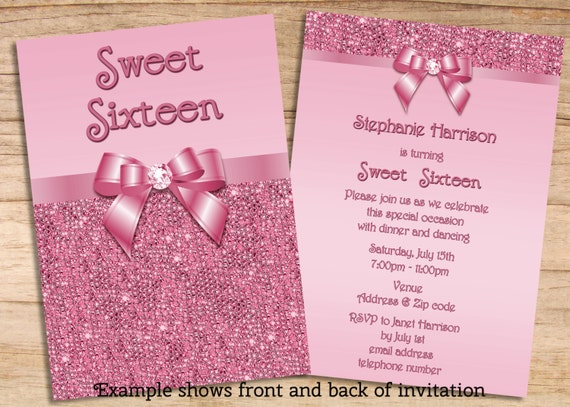 Items similar to printable sweet 16 pink sequins and bow for Sweet sixteen program template