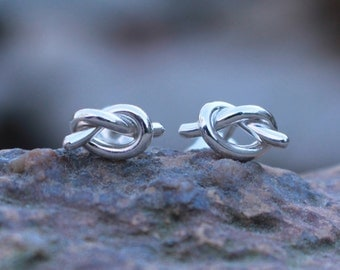 Love Knot Post Earrings - Sterling Silver Tie the Knot Earrings