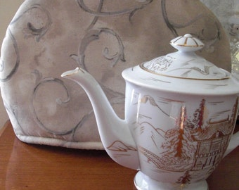 English Taupe Teapot Cozy Insulated with Insul-Bright and Warm Fleece