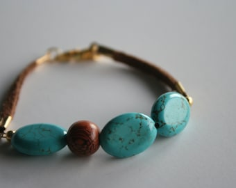 """Turquoise & Brown Leather Beauty - 7"""""""