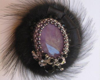 Unique brooch with fur and svarosvky crystals