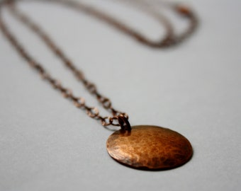 Hammered Copper Disc Necklace, Hammered Copper Circle, Antique Hammered Copper Disc Pendant