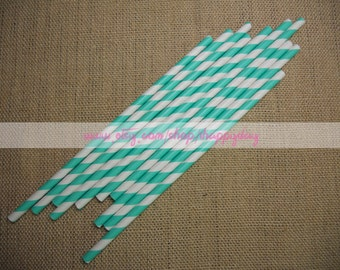 Striped Paper Straws 50 Aqua Paper Straws for Baby Shower Cake Pop Sticks Wedding W/ Free DIY Printable Flags