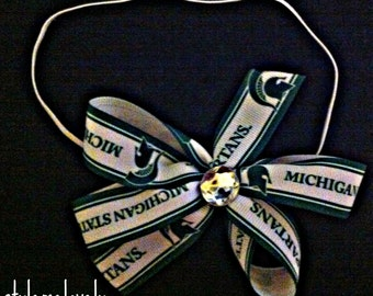 Michigan State Baby Girl Boutique Bow Elastic Headband