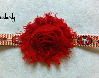 San Francisco 49ers Baby Girl Shabby Flower Headband