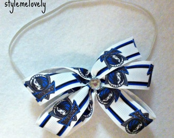 Dallas Mavericks Baby Girl Boutique Bow Elastic Headband