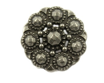 Metal Buttons - Beads Flower Nickel Silver Metal Shank Buttons - 18mm - 11/16 inch - 6 pcs