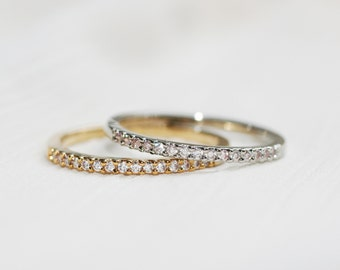 0.30ct Two Stackable Diamond Rings-14k Gold