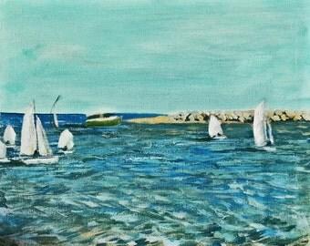 Santa Barbara Harbor Mouth Sailing Lesson acrylic painting