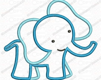 Childish Elephant Applique Embroidery Design in 4x4 and 5x7 Sizes