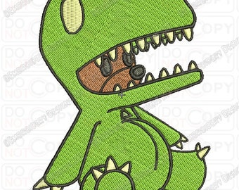 Stuffed Animal Bear in T-rex Costume Dinosaur Embroidery Design in 3x3 4x4 and 5x7 Sizes