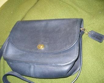 Coach, dark blue, leather tag and stamp