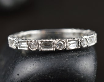 Samantha B - Diamond Wedding Band in White Gold, Round Brilliant and Baguette Cut, Bezel Set with Milgrain and Hand Engraving, Free Shipping