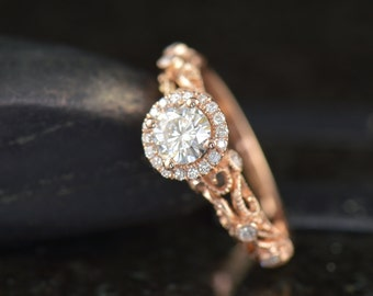 Ashlyn - Moissanite Engagement Ring in Rose Gold, Round Brilliant Cut, Diamond Halo, Filigree with Bezel Set Side Stones, Free Shipping