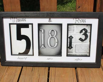 Creative wedding date for Bride & Groom. You can customize this gift with names, sayings or quotes.