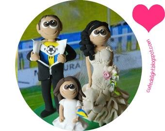 Soccer cake topper, Football cake topper, soccer wedding cake topper, Wedding Cake Toppers, family cake topper, CUSTOM cake topper, FUNNY