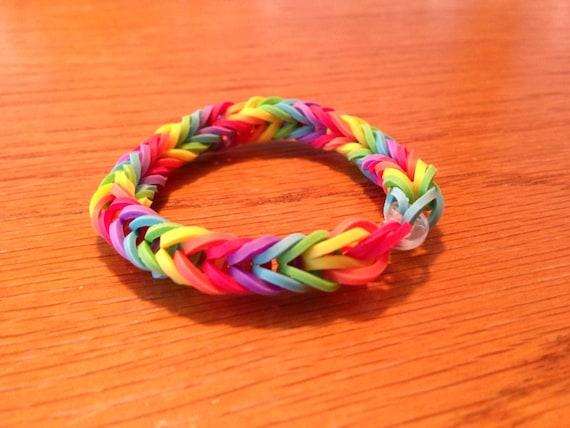 Items similar to Rainbow loom rubber band fishtail ...