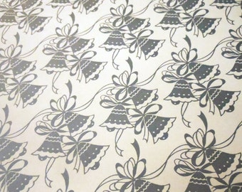 Vintage Metallic Silver Bells & Ribbons on White Background Wedding or Shower Gift Wrap Two Sheets