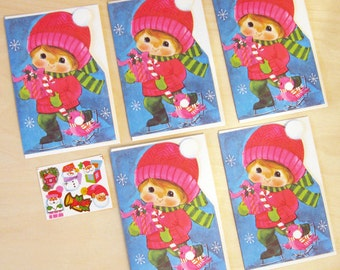 Vintage Christmas Originals Holiday Ice Skater Set of 5 Greeting Cards with Envelopes & One Sheet of Seal