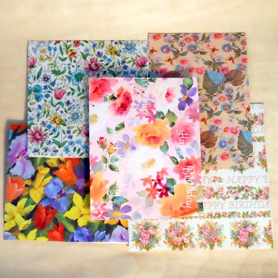 Vintage unusual birthday baby shower floral gift wrap scrap for Quirky retro gifts