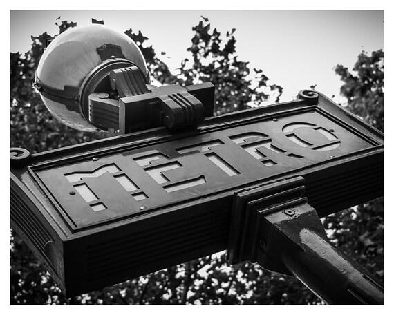 Metro Sign Photo, Paris Photography, Parisian Decor, France, 5x7, 8x10, Wall art, Home Decor
