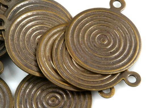 60 Pcs 16 mm antique tone brass circle textured charms ,findings 135AB-48