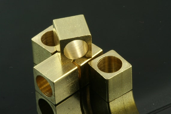 "20 pcs 8 x 8 mm 5/16"" x 5/16""  raw brass square cube,raw brass finding square cube rod industrial design (6 mm 1/4"" hole ) bab6"